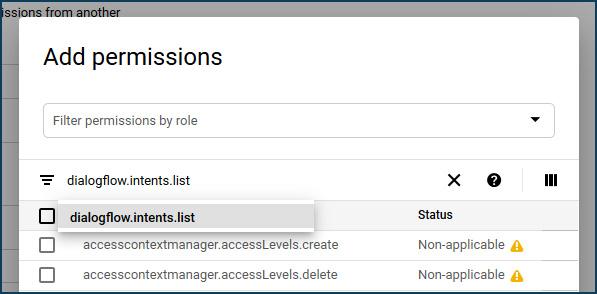 Add permissions Dialogflow