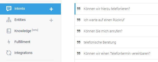 Intent Google Dialogflow