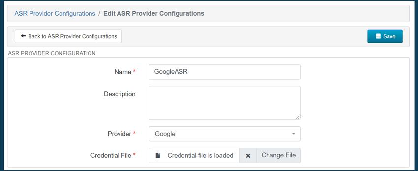 ASR configuration TENIOS