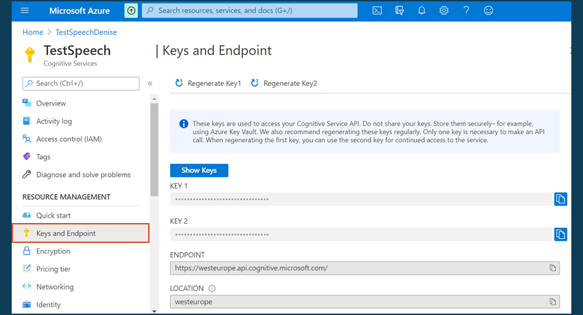 Azure Keys Endpoints