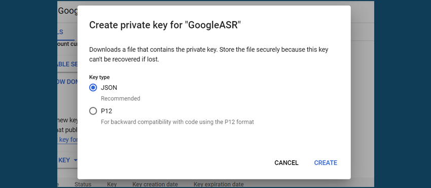 Google Cloud Service Account key