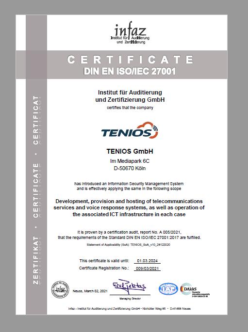 Certificate ISO TENIOS