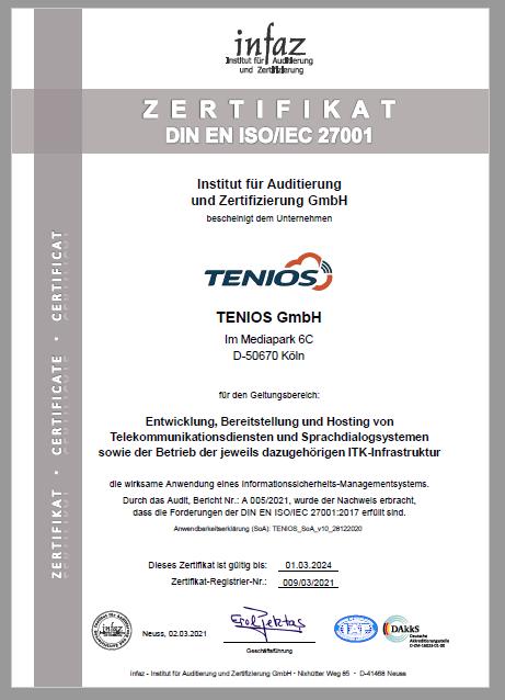 ISO 27001 Zertifizierung TENIOS
