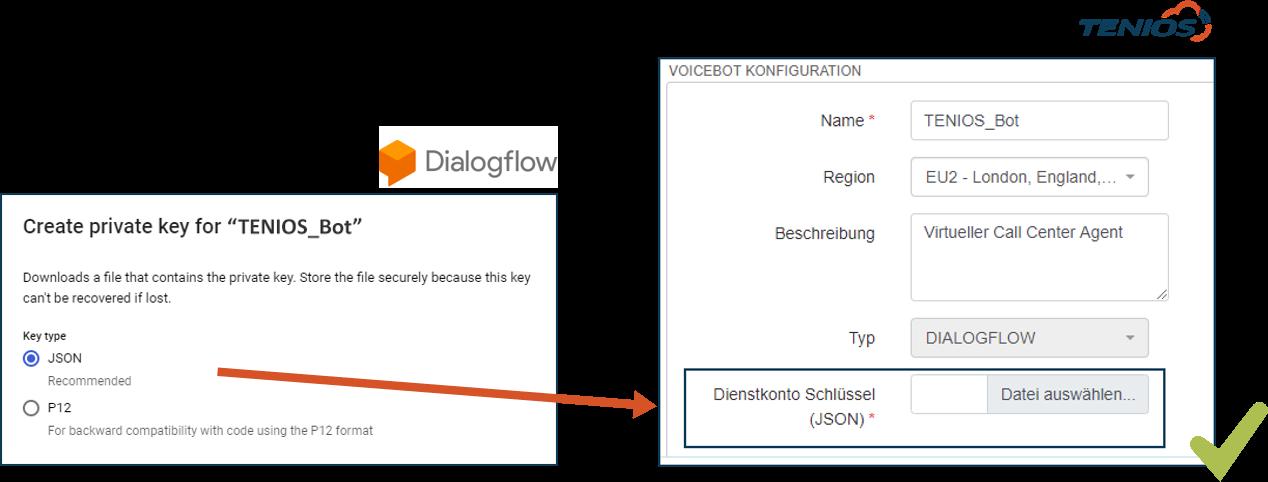 TENIOS Dialogflow Key