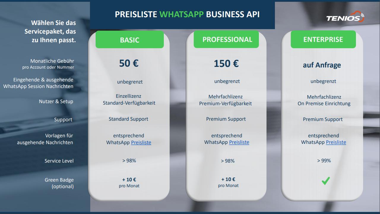Preisliste WhatsApp Business API